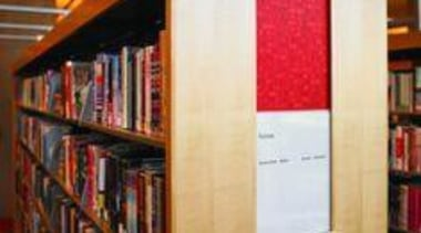 Library shelves featuring Formica Red Eclipse - Red book, bookcase, bookselling, furniture, institution, library, public library, shelf, shelving, white, red