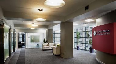 NOMINEETe Puna Kokiri (4 of 4) - Resene ceiling, daylighting, institution, interior design, lobby, office, real estate, black, gray