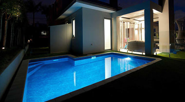 Gold Award recipient for Residential Swimming Pools under architecture, estate, home, house, lighting, property, real estate, swimming pool, villa, black