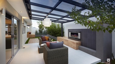 Alfresco entertaining. - The Allure Display Home - architecture, estate, home, house, interior design, living room, patio, property, real estate, roof, gray