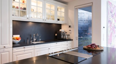 Contemporary technology is combined with timeless aesthetics and cabinetry, countertop, cuisine classique, home, interior design, kitchen, room, window, gray