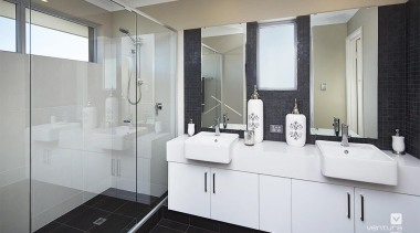 Ensuite design. - The Lexington Two Storey Display bathroom, bathroom accessory, bathroom cabinet, interior design, product design, room, sink, gray, white