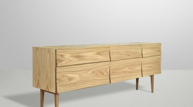 Designed by Scandinavian design company Soren Rose Studio, chest of drawers, drawer, furniture, sideboard, white, gray