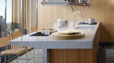 Lignum Kitchen designed by Antonio Citterio for Arclinea architecture, countertop, floor, flooring, furniture, interior design, kitchen, table, gray