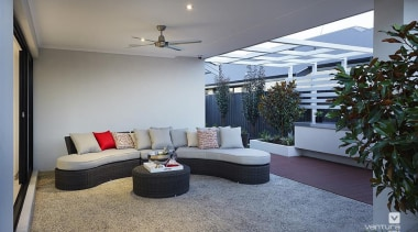Alfresco entertaining. - The Montrose Display Home - architecture, ceiling, floor, flooring, interior design, living room, real estate, room, window, gray