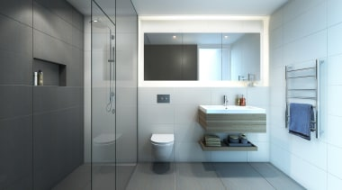 The first stage of Wynyard Central is an architecture, bathroom, bathroom accessory, bathroom cabinet, home, interior design, plumbing fixture, product design, room, sink, toilet, white, gray
