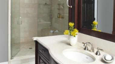 Entire Home Remodel - Master Bathroom - bathroom bathroom, bathroom accessory, bathroom cabinet, cabinetry, countertop, cuisine classique, floor, home, interior design, kitchen, room, sink, gray, white