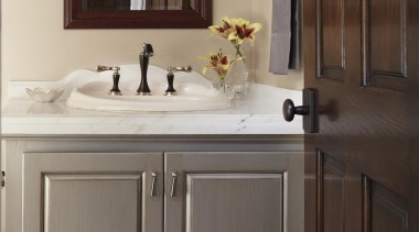 Entire Home Remodel - Powder Room - bathroom bathroom, bathroom accessory, bathroom cabinet, cabinetry, countertop, cuisine classique, floor, furniture, hardwood, home, interior design, kitchen, room, sink, gray, black