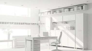 Visualising a home renovation project from plans can angle, black and white, desk, furniture, interior design, office, product, product design, shelving, white