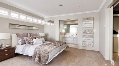 Master ensuite design. - The Indulgence Display Home bed frame, bedroom, ceiling, floor, home, interior design, property, real estate, room, window, gray