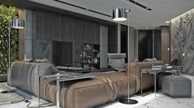 awesome leather sofa - Masculine Apartments - furniture furniture, interior design, living room, gray, black