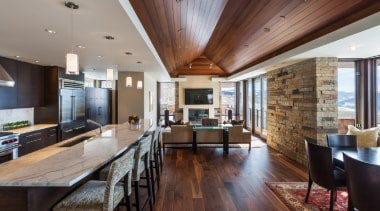 Wilner at Avon, Colorado - Wilner at Avon, ceiling, countertop, dining room, flooring, hardwood, house, interior design, kitchen, living room, real estate, wood flooring, gray, black