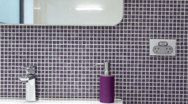 Bathroom with purple mosaic tiled wall and white bathroom, daylighting, floor, flooring, interior design, plumbing fixture, product, property, purple, room, tile, wall, gray