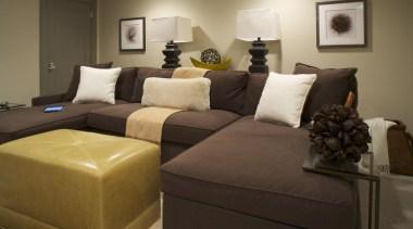 Historic Bungalow Renovation - Basement - Sectional - bed, bed frame, bedroom, furniture, home, interior design, living room, room, suite, brown, black