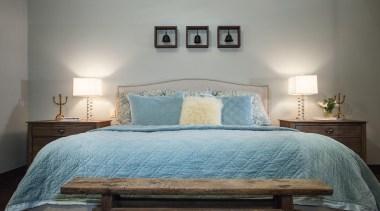 Mountain Modern - Master Bedroom - bed   bed, bed frame, bed sheet, bedding, bedroom, ceiling, furniture, home, interior design, real estate, room, suite, wall, gray