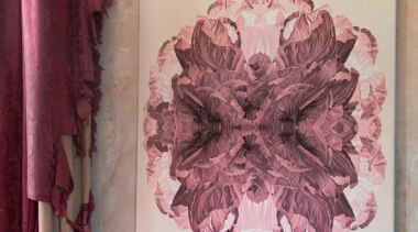 The Poppy Day wallhanging is inspired by macro flower, flower arranging, magenta, petal, pink, textile, gray, red