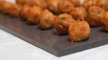 Feta and Cumin Fritters on Caearstone Piatra Grey dish, food, fried food, fritter, meatball, pakora, brown, white