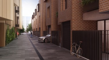 The first stage of Wynyard Central is an alley, apartment, architecture, brick, building, facade, house, infrastructure, neighbourhood, property, real estate, residential area, road, street, town, black