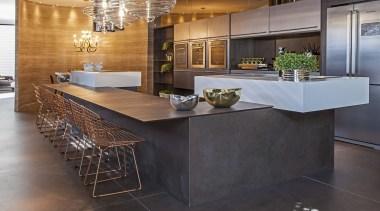 Dekton by Cosentino color Keranium en suelo countertop, cuisine classique, floor, flooring, interior design, kitchen, laminate flooring, table, tile, wood flooring, gray, black