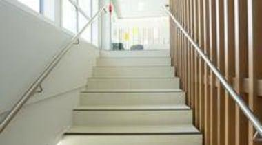 Floor featuring Naturali travertino avorio. - Network Tasman architecture, daylighting, floor, handrail, interior design, stairs, white