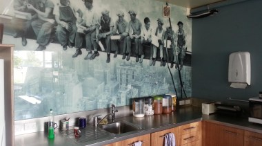 Printed Glass Splashback put in the Vulcan Steel interior design, property, room, wall, window, gray, black
