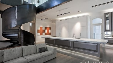 Landmark Villa Renovation - Landmark Villa Renovation - countertop, floor, interior design, living room, gray, black