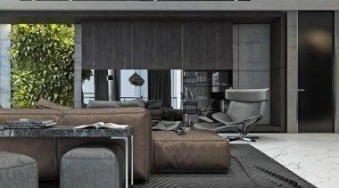 gray color palette - Masculine Apartments - floor floor, furniture, interior design, living room, table, black, gray