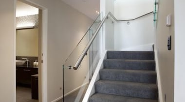 Carpet from Norman Ellison installed by Flooring Studio architecture, daylighting, floor, flooring, handrail, home, house, interior design, real estate, stairs, gray