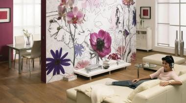 Purple Interieur - Italian Color Range - curtain curtain, floor, flooring, flower, furniture, home, interior design, living room, purple, room, textile, wall, wallpaper, window, white, brown
