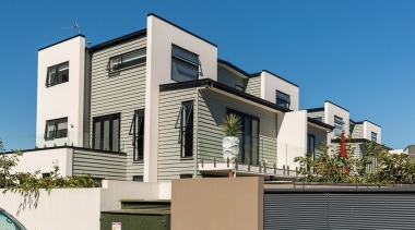Envira timber weatherboards weigh almost one-third the weight apartment, architecture, building, commercial building, elevation, facade, home, house, mixed use, neighbourhood, property, real estate, residential area, siding, villa, teal