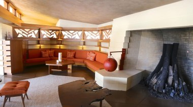 An extensive historic restoration of this mid-century Frank architecture, ceiling, interior design, living room, property, real estate, room, suite, wall, brown