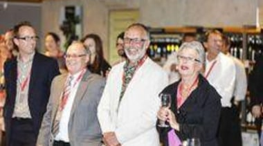 Laminex NZ's Jesse Staines & Graham Wilkins with community, event, fashion, professional, senior citizen, socialite, gray