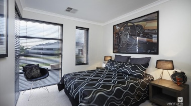 Bedroom design. - The Allure Display Home - bedroom, home, interior design, property, real estate, room, window, gray