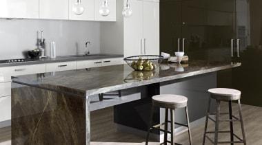 Classic Gloss Island - Classic Gloss Island - countertop, cuisine classique, floor, flooring, interior design, kitchen, product design, table, black, gray