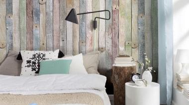 Vintage Wood Interieur - Italian Color Range - bed, bed frame, bedroom, floor, furniture, home, interior design, room, textile, wall, window, gray