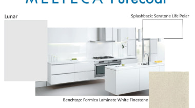 New Zealand made Melteca Purecoat surfaces utilise cutting-edge furniture, kitchen, product, product design, table, white