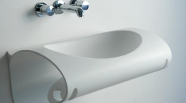 'Wing' is a wall sink that looks as bathroom sink, hardware, plumbing fixture, product, product design, tap, gray, white