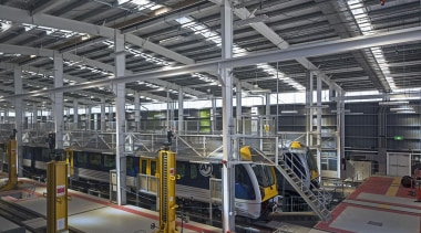 EXCELLENCE AWARDWiri Electric Train Maintenance and Stabling Facility airport terminal, factory, industry, manufacturing, steel, structure, gray, black