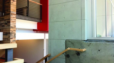 A natural but contemporary panel. Well suited to architecture, daylighting, floor, handrail, house, interior design, loft, wall, wood