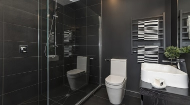 Landmark Homes Fitzroy Design Ensuite - Landmark Homes bathroom, floor, interior design, room, tile, black