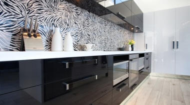 A bold two tone statement - featured in architecture, countertop, floor, flooring, interior design, kitchen, room, wall, white, black, gray