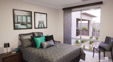 Bedroom design. - The Odyssey Display Home - bedroom, home, interior design, living room, property, real estate, room, window, gray