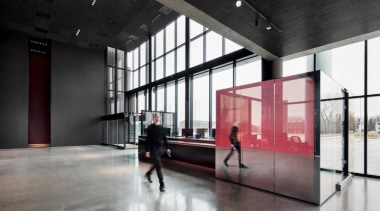 Large windows flood the foyer with light architecture, floor, interior design, lobby, tourist attraction, black, gray