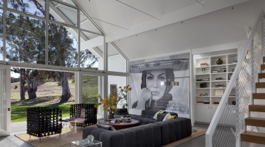 Hupomone Ranch is a LEED Platinum house designed architecture, ceiling, home, house, interior design, living room, real estate, gray