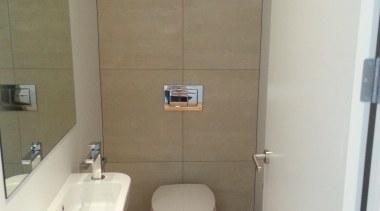 Earthstone talc ivory bathroom wall tile - Earthstone bathroom, bidet, floor, plumbing fixture, property, room, sink, toilet, toilet seat, brown, white