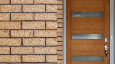 The Austral Bricks Hallett range is recognised by brick, brickwork, hardwood, lumber, material, wall, window, wood, wood stain, orange, brown