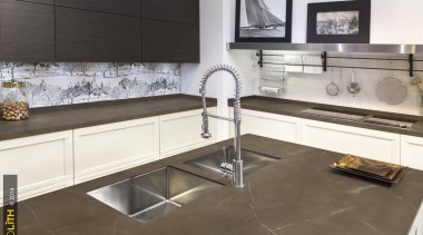 Neolith Pulpis 2 countertop, cuisine classique, floor, flooring, interior design, kitchen, product design, tile, brown, gray