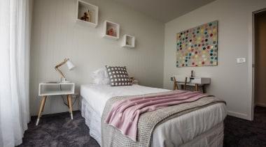 HardieGroove Lining - HardieGroove Lining - bed   bed, bed frame, bedroom, floor, furniture, home, interior design, real estate, room, suite, wall, gray
