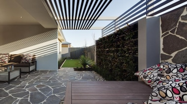 Alfresco design. - The Nirvana Display Home - apartment, architecture, balcony, courtyard, daylighting, estate, house, interior design, patio, property, real estate, roof, gray, black