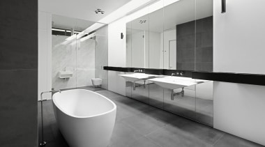 Craig Steere Architects – Highly Commended architecture, bathroom, black and white, floor, interior design, plumbing fixture, product design, room, sink, tap, tile, gray, black